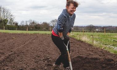 Corrina digging
