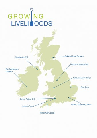 Map of Growing Livelihoods projects from across the UK & Ireland