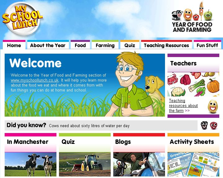 Manchester Fayre's My School Lunch Website.