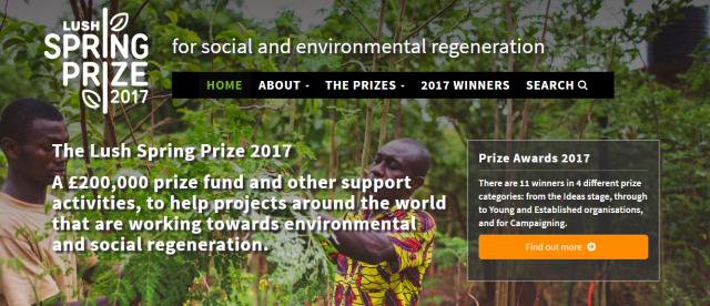 Lush Spring prize website